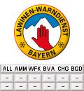 Logo des Lawinenwarndienstes mit regionalisierten Hinweisen zu den Warnstufen in höheren und niedrigeren Lagen (unterhalb des Logos)